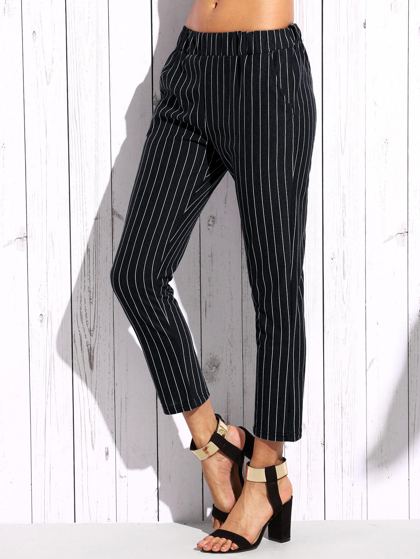 Vertical Striped Elastic Waist Pants