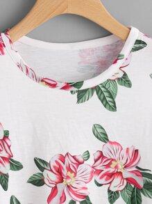 Flower Print Open Shoulder Slub Tee pictures