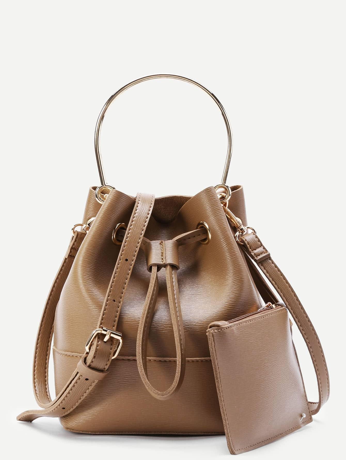 Фото PU Drawstring Shoulder Bag With Clutch. Купить с доставкой