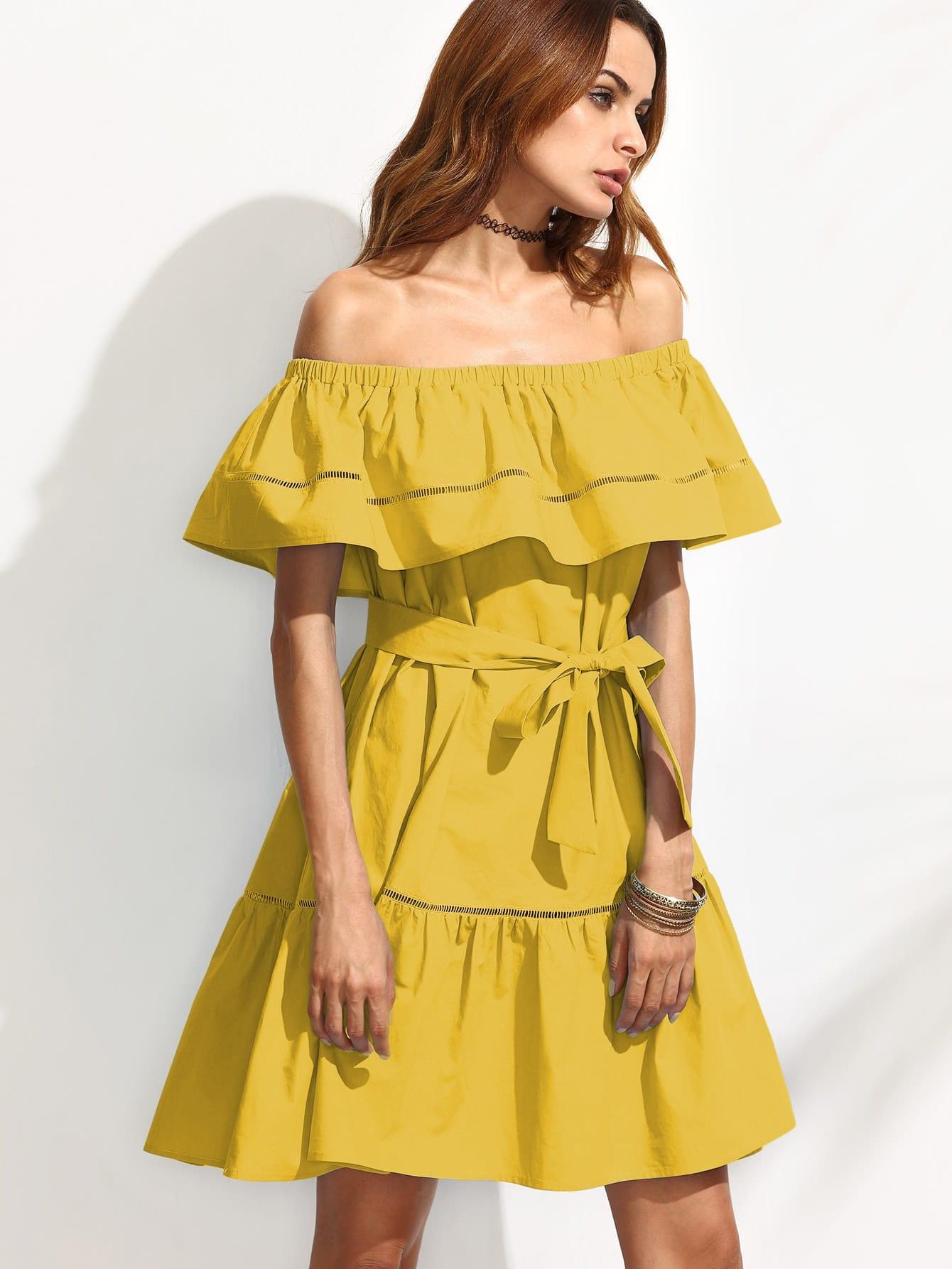 Фото Self Tie Ladder Lace Insert Frill Bardot Dress. Купить с доставкой