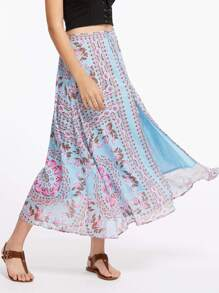 Falda de gasa con cordón de flecos