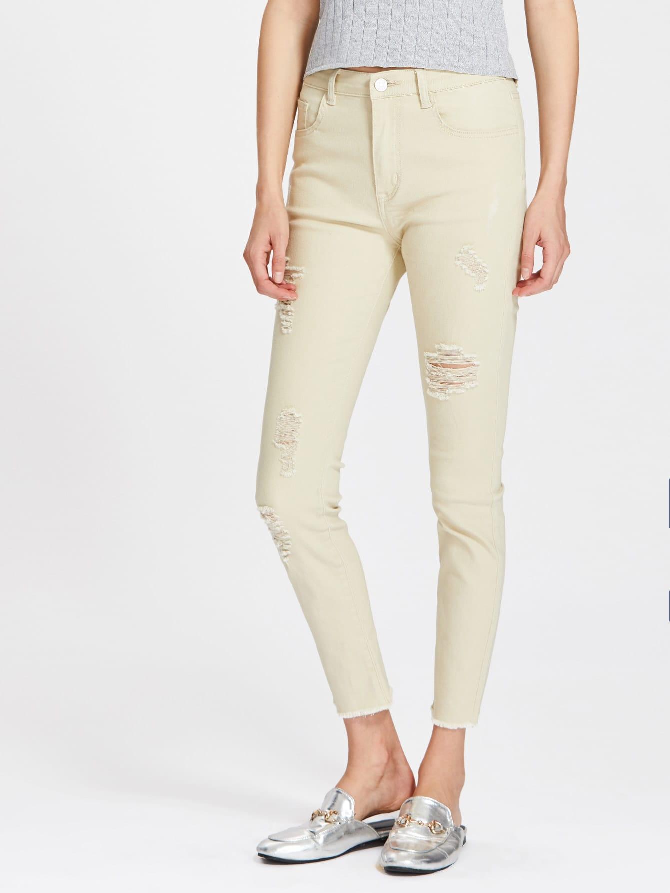 Фото Shredded Rips Detail Frayed Hem Jeans. Купить с доставкой