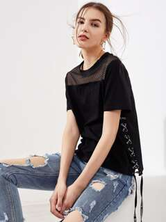Fishnet Yoke Eyelet Lace Up Side T-shirt
