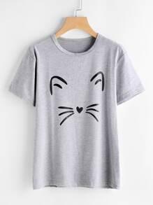Cat Print Heathered Knit Tee