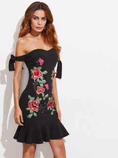 Bardot Bow Tied Sleeve Embroidery Patch Flounce Trim Dress