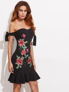 Bardot Bow Tied Sleeve Embroidery Patch Flounce Trim Dress