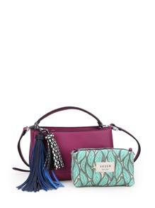 Contrast Tassel PU Shoulder Bag With Clutch