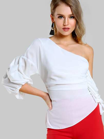 One Shoulder Gathered Sleeve Top