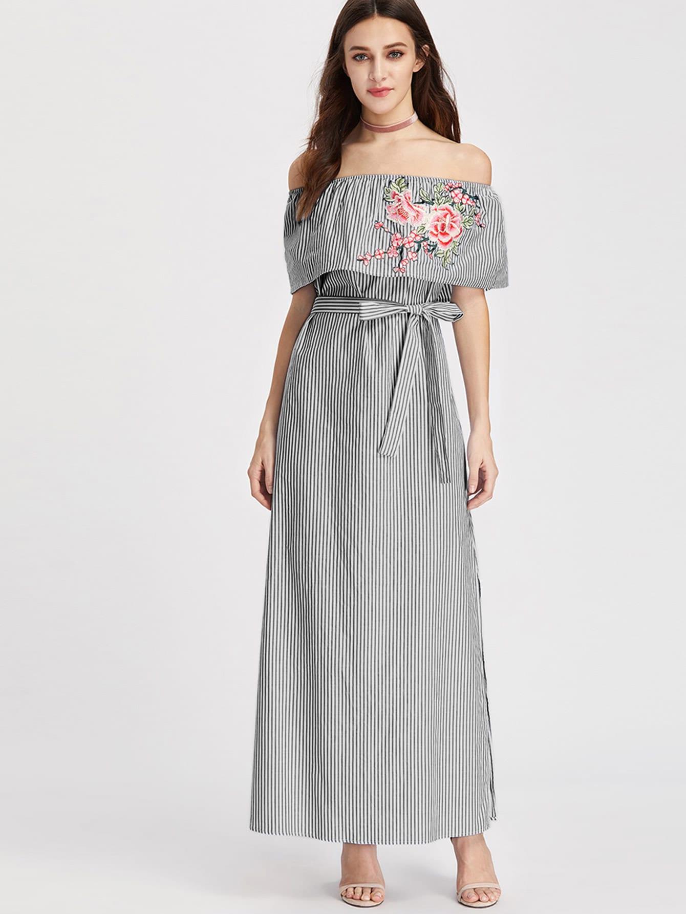 Embroidered Flounce Off Shoulder Belted Striped Dress 17478 08 sm