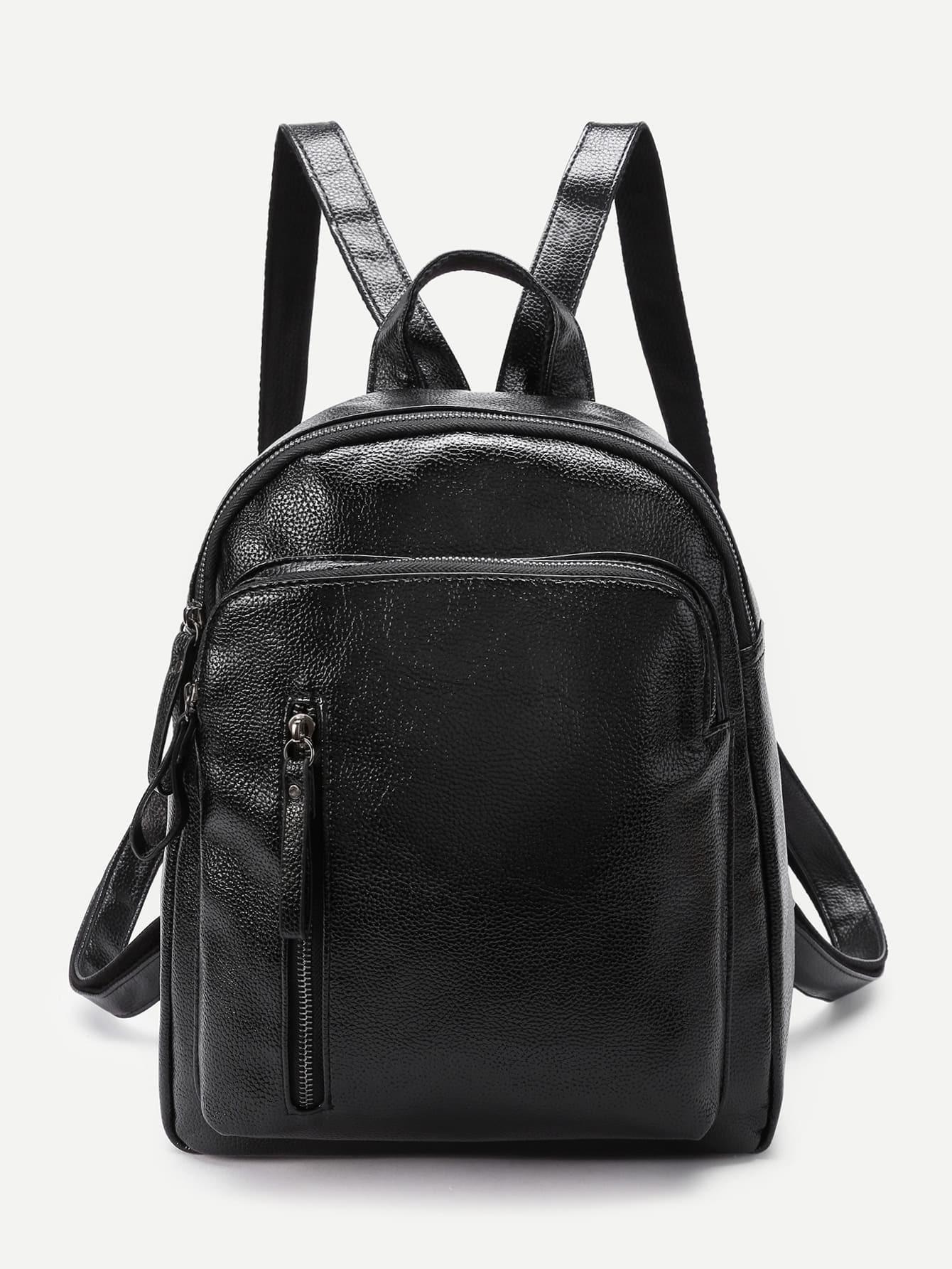 Фото Vertical Zipper Front PU Backpack. Купить с доставкой