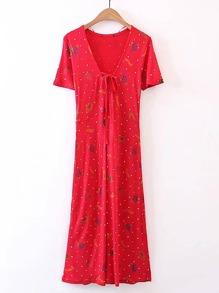 Polka Dot Lace Up Detail Dress