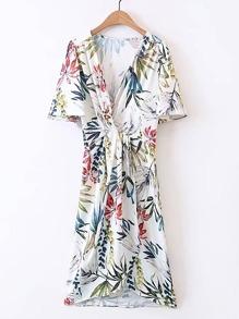 Plunging V-Neckline Floral Print Dress