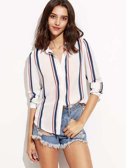 Vertical Striped Hidden Button Shirt