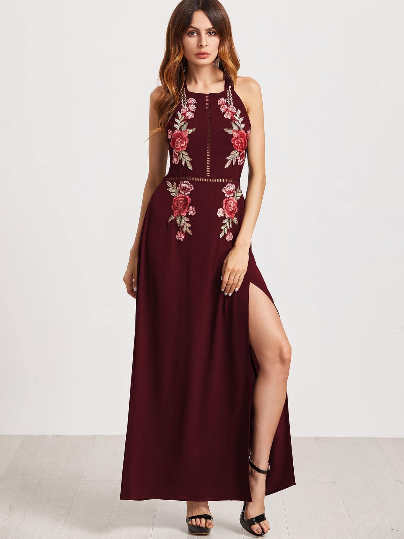 Kleid mit Stickereien, Rose Applikation und hohem Schlitz