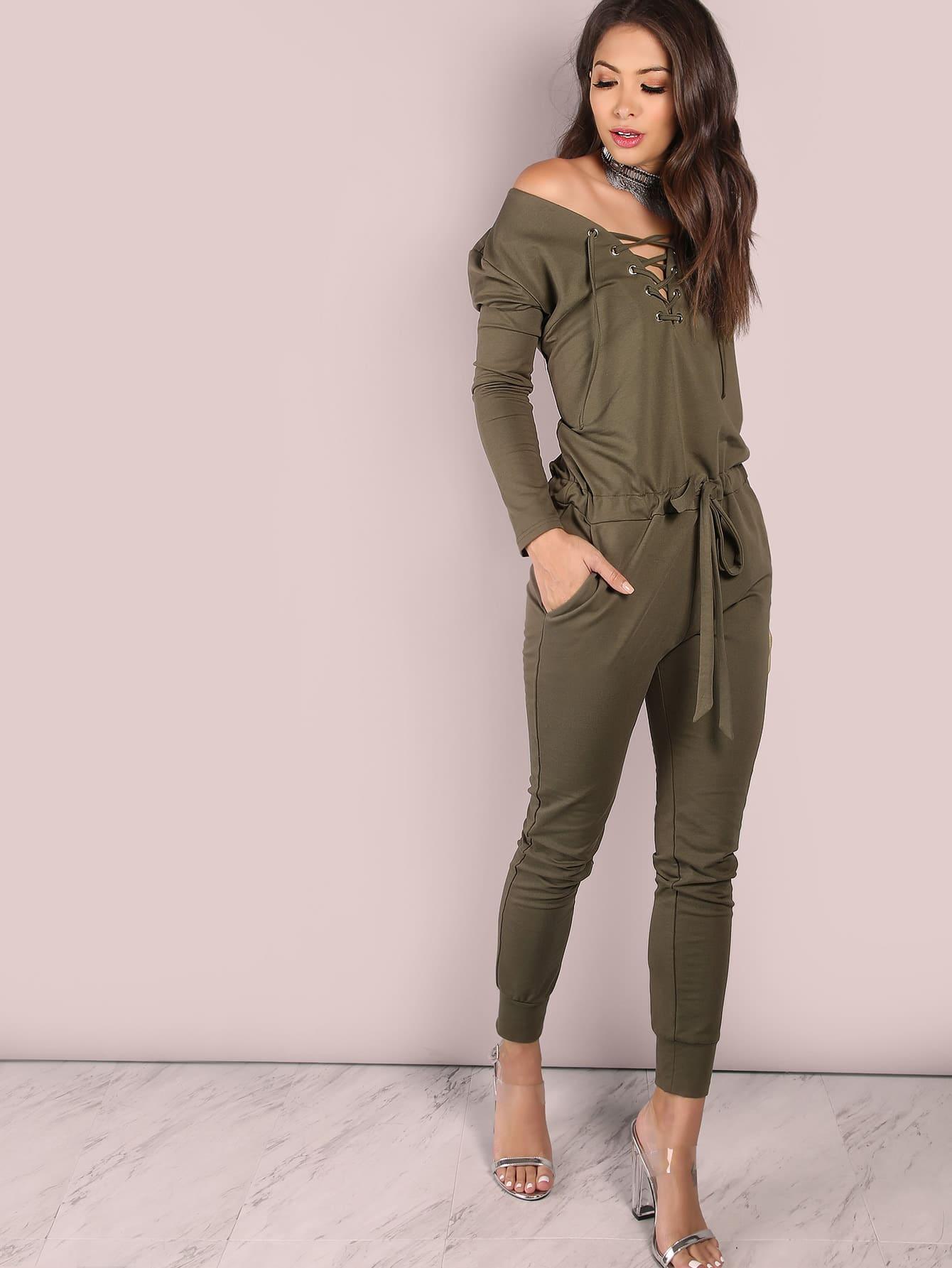 Slouchy Lace Up Cotton Jumpsuit OLIVE