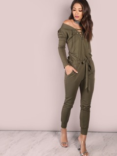 Oversized Open Shoulder Jumpsuit Olive
