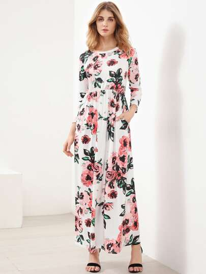 Ditsy Print Full Length Dress