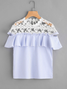 Lace Paneled Striped Frill Trim Hollow Out Top