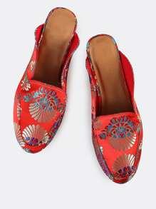 Printed Loafer Slides RED