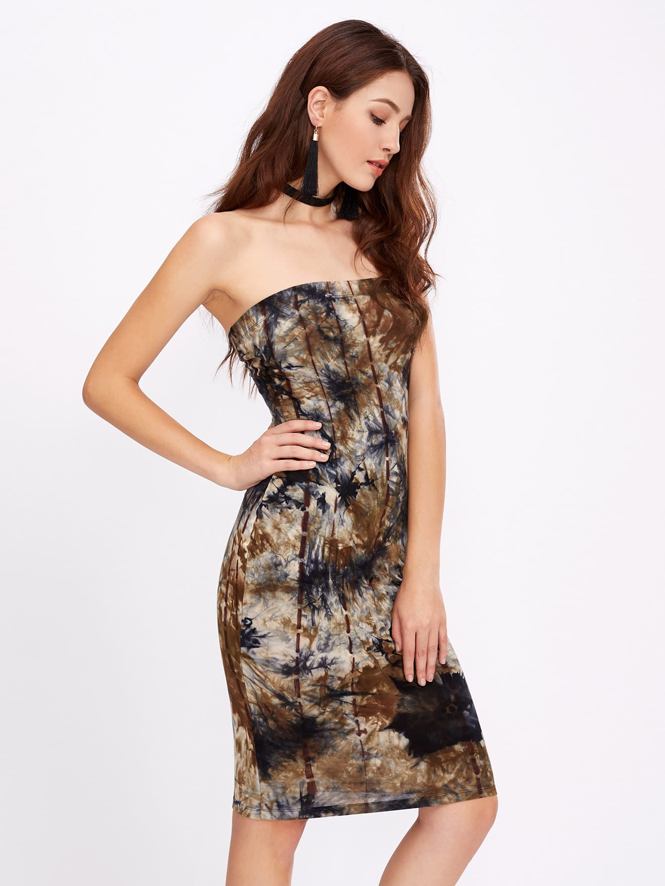 Tie Dye Print Bandeau Dress dress170418704