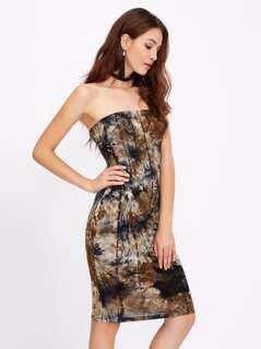 Tie Dye Print Bandeau Dress