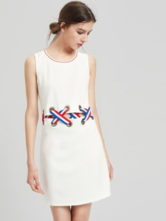 Grommet Criss Cross Cutout Midriff Tank Dress
