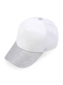 Glitter Detail Lace Front Mesh Snapback Baseball Cap