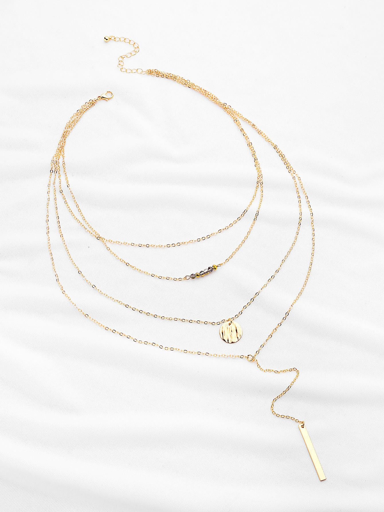 Фото Crystal And Bar Multi-layer Chain Necklace. Купить с доставкой