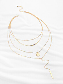 Crystal And Bar Multi-layer Chain Necklace