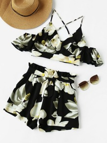 Frilled Overlap Cami And Self Tie Shorts Co-Ord