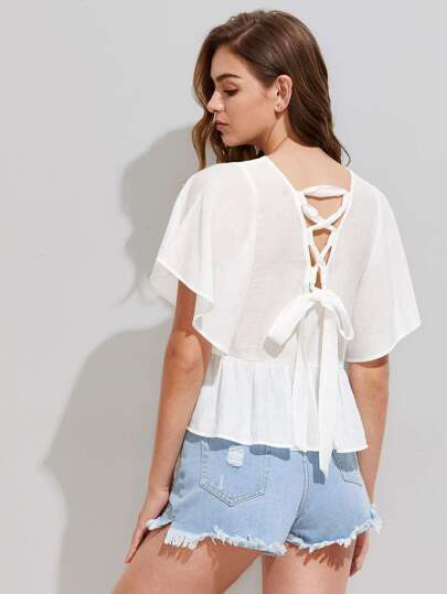 Lace Up V Back Peplum Dolman Top pictures