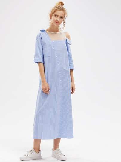 Dot Mesh Insert Asymmetric Shoulder Striped Shirt Dress