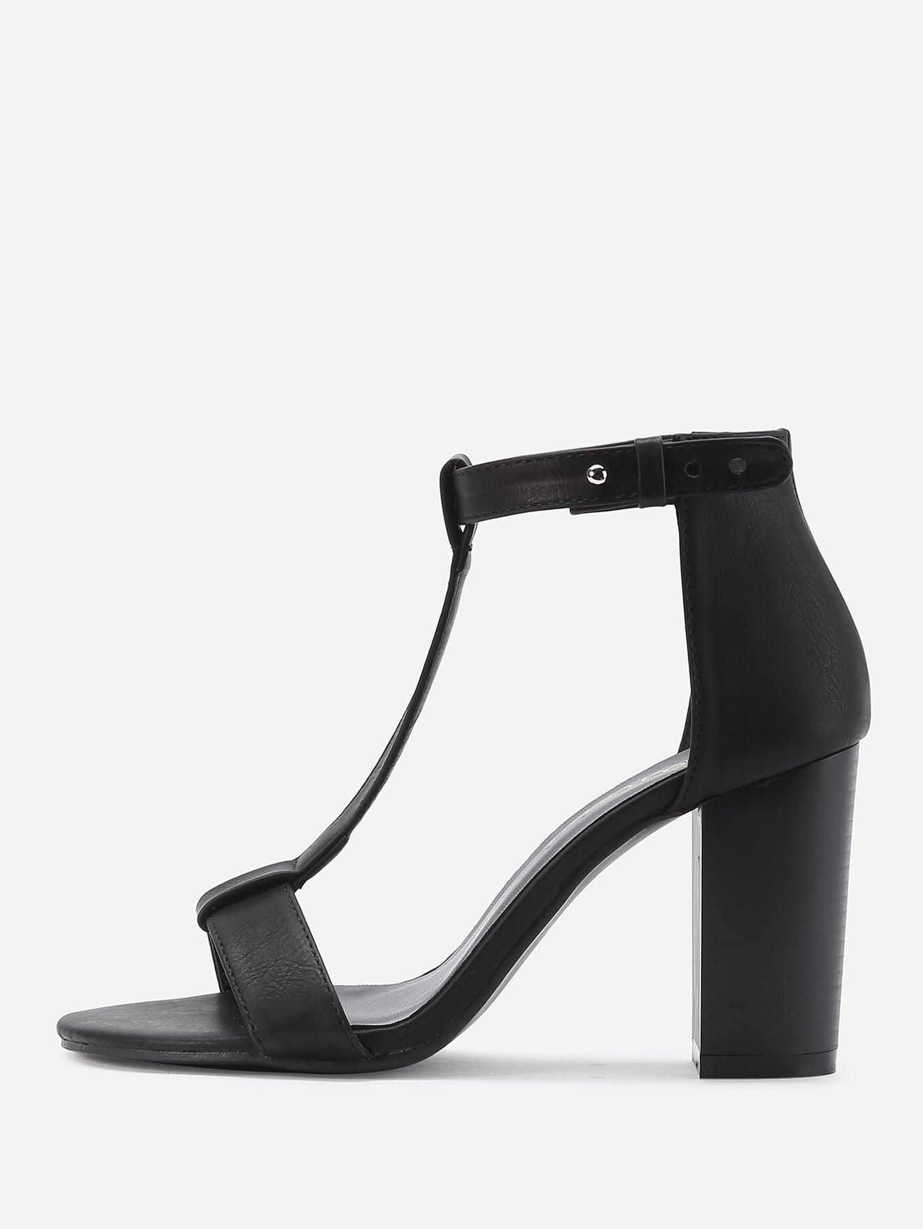 Купить Модные кожаные босоножки на каблуках, null, SheIn