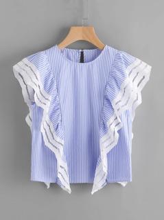 Lace Trim Ruffle Cap Sleeve Pinstripe Top