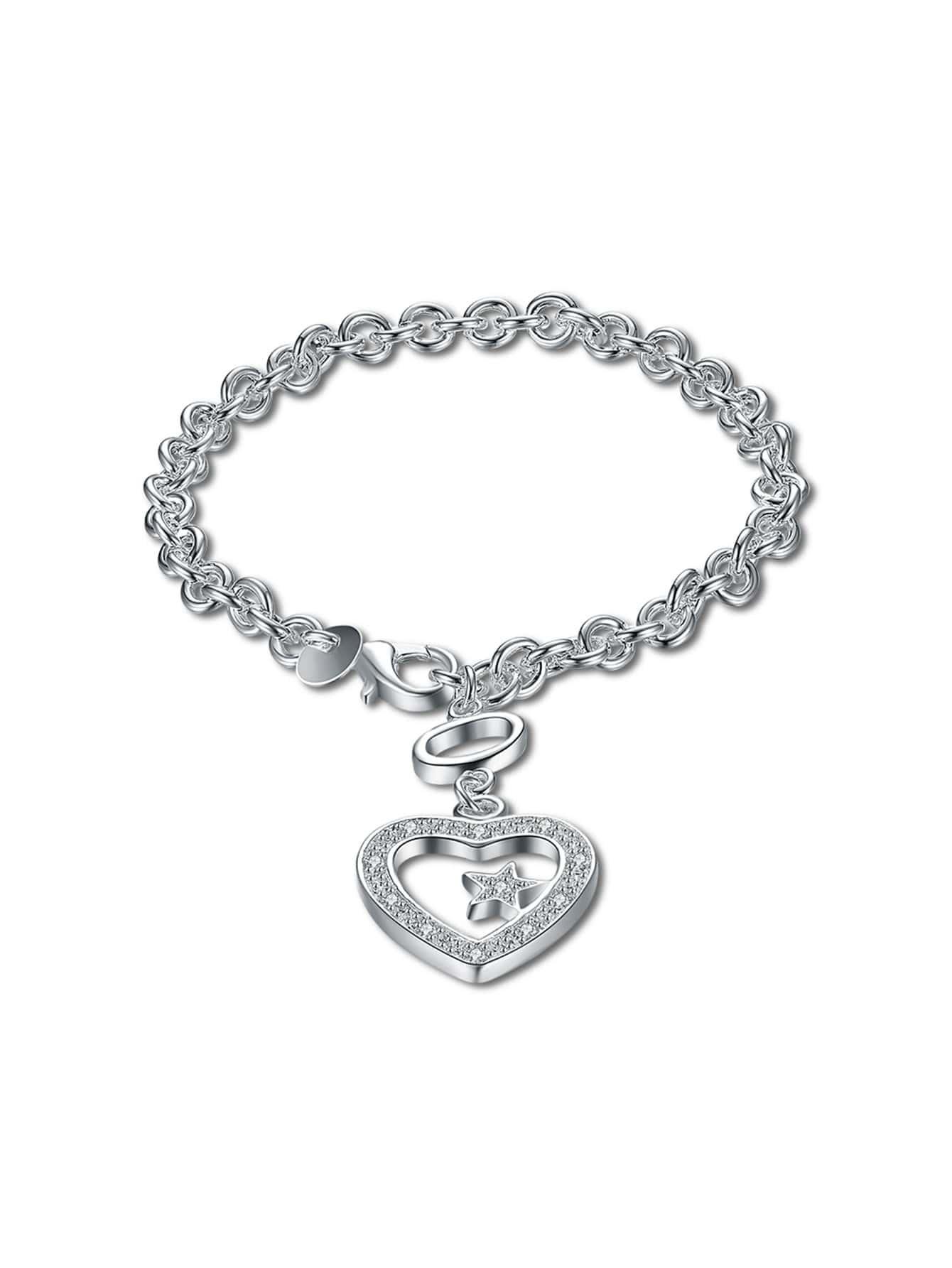 Фото Heart And Star Detail Chain Bracelet. Купить с доставкой