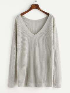 Plunge Neck Loose Fit Jumper