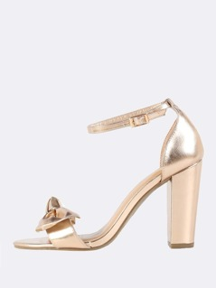 Metallic Bow Ankle Strap Heels ROSE GOLD