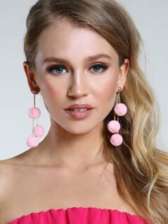 Layered Pom Pom Earrings LIGHT PINK