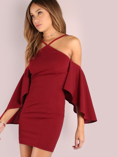 Asymmetrisches Glocke Ärmelloses Bodycon Mini Kleid BURGUNDY