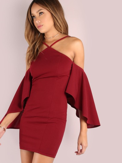 Asymmetrical Bell Sleeved Bodycon Mini Dress