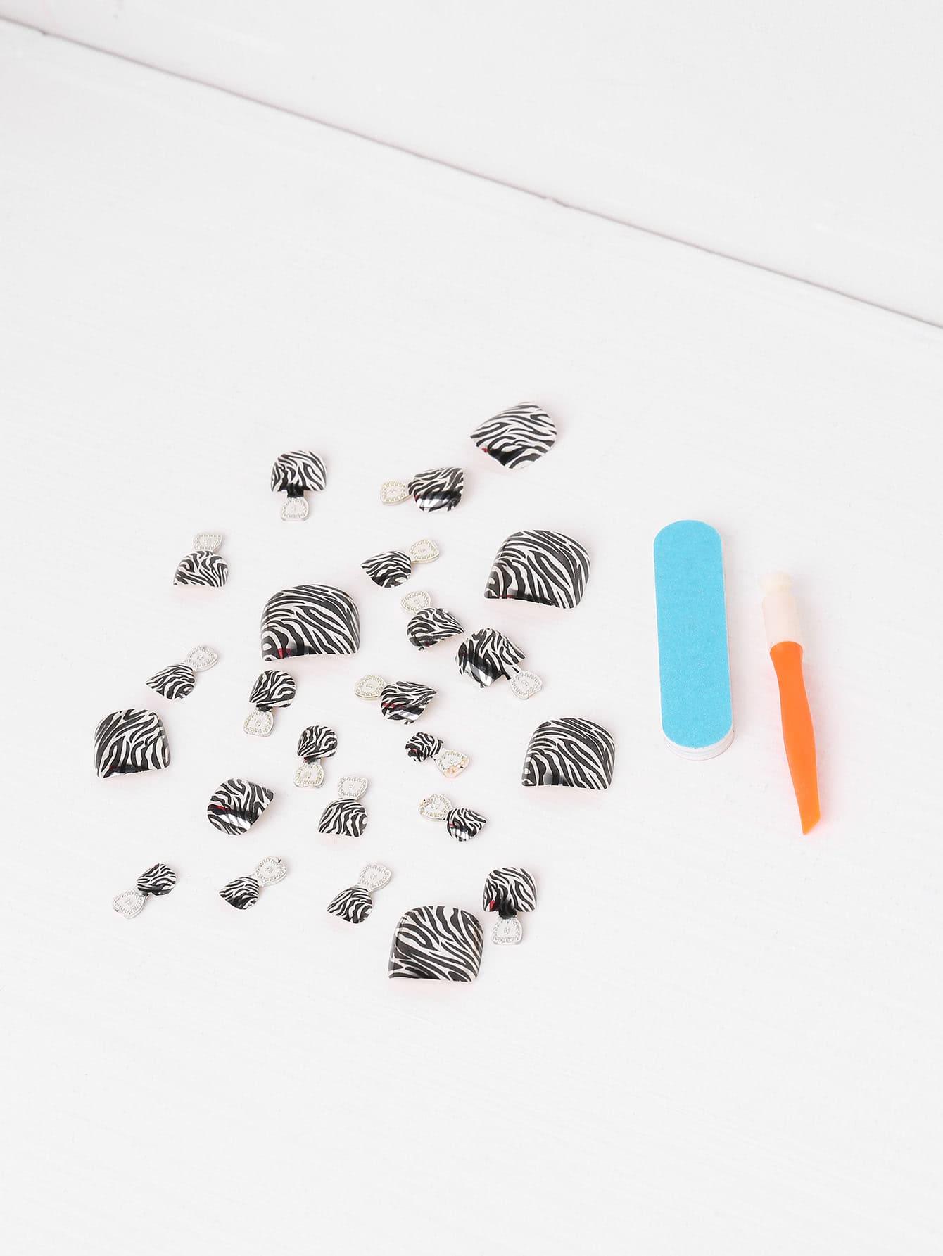 Фото Zebra False Toe Nail 24pcs With Nail File. Купить с доставкой