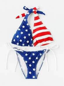 Star & Striped Print Side Tie Bikini Set