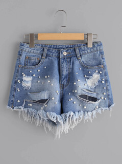 Faux Pearl Beading Distressed Denim Shorts