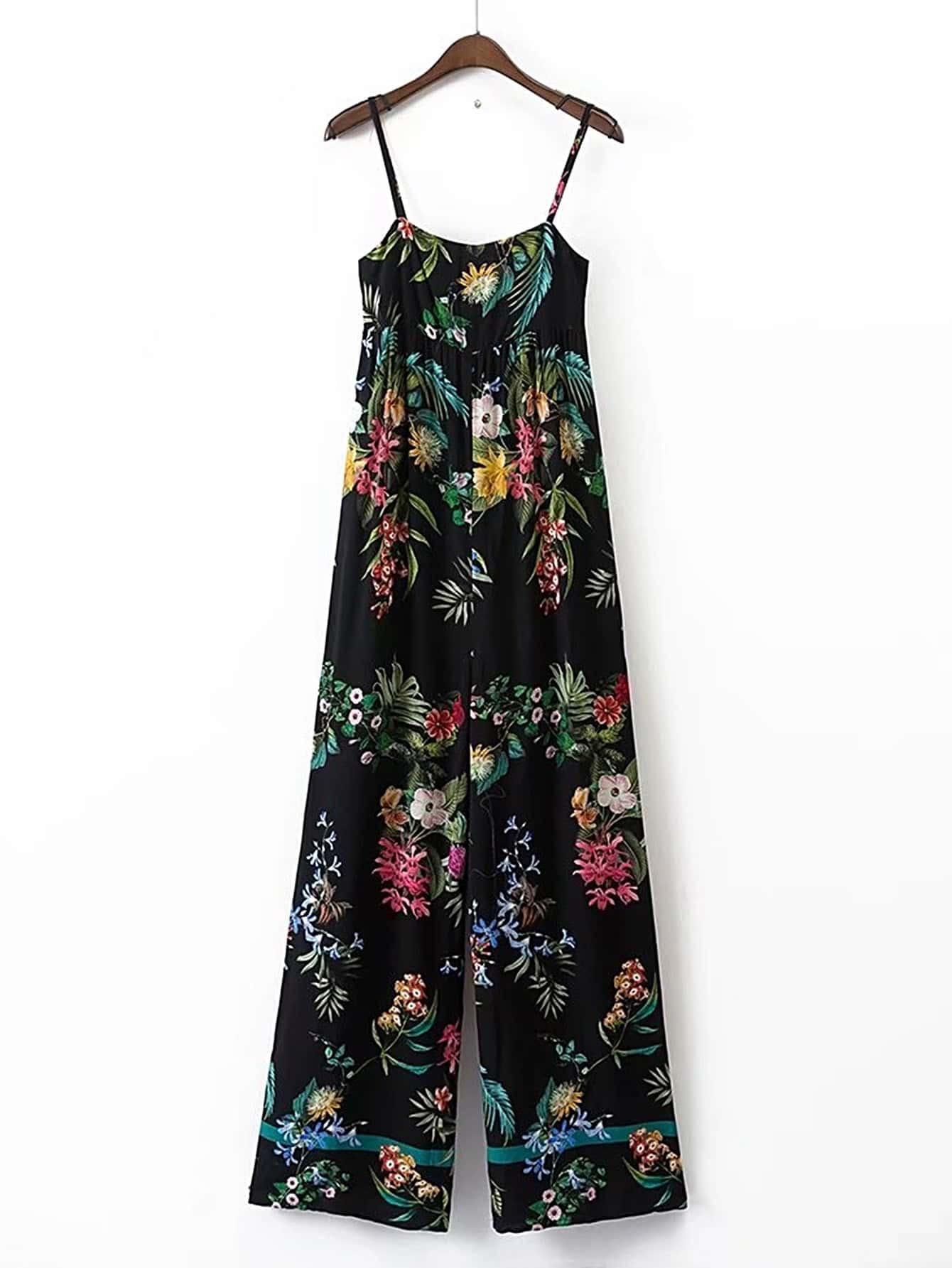 Фото Cami Straps Floral Print Jumpsuit. Купить с доставкой