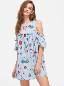 Flower And Stripe Print Open Shoulder Ruffle Dress