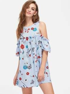 Flower And Stripe Print Open Shoulder Ruffle Dress