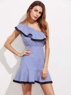 Contrast Trim Flounce One Shoulder Striped Dress