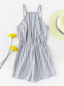 Racerneck Double Strap Open Back Striped Playsuit