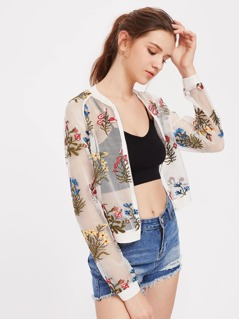 Botanical Embroidered Raglan Sleeve Fishnet Bomber Jacket