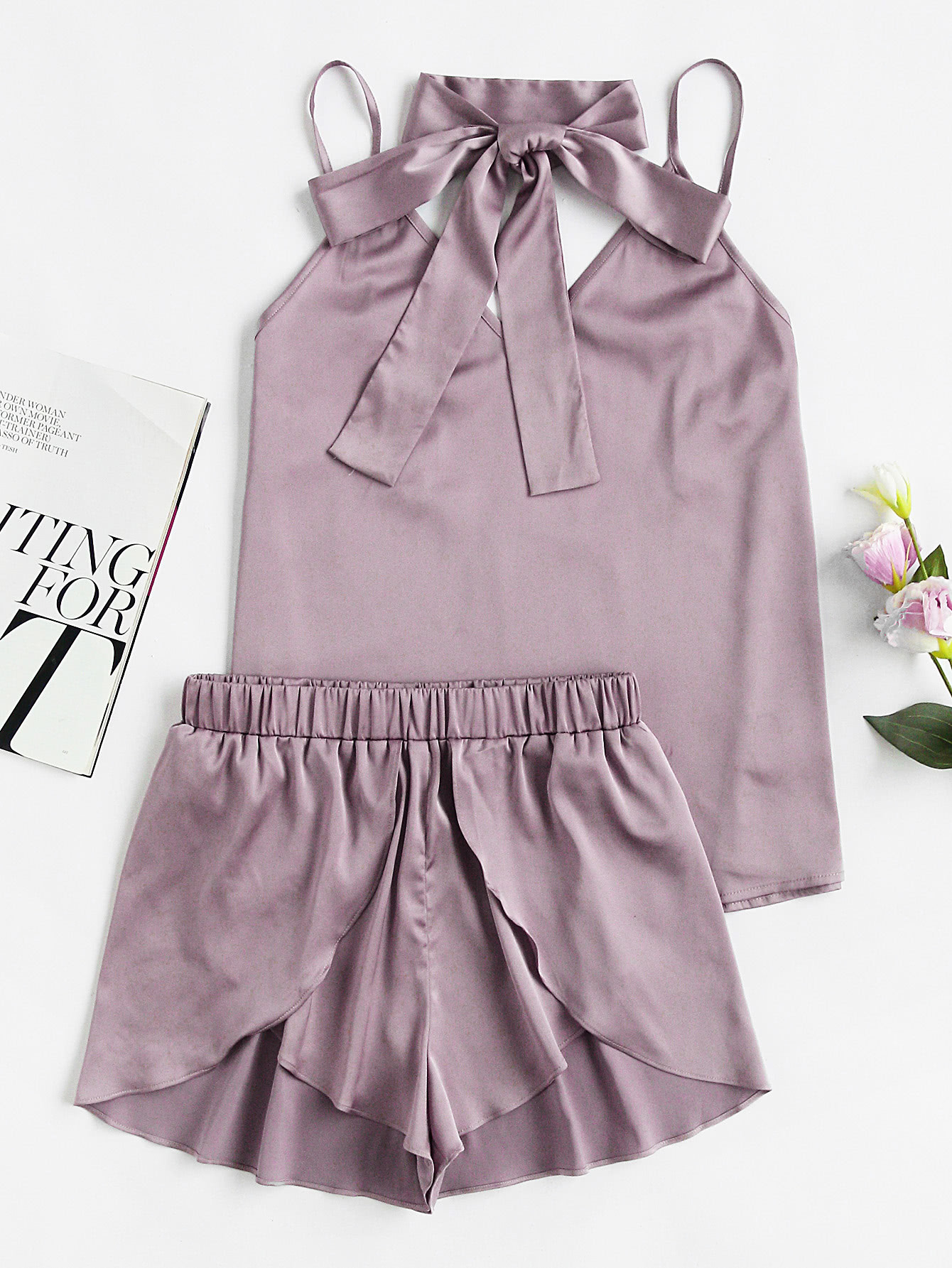 Neck Tie Detail Cami And Wrap Shorts Pajama Set гейзер пфм г 1 0 5 20bb 28241